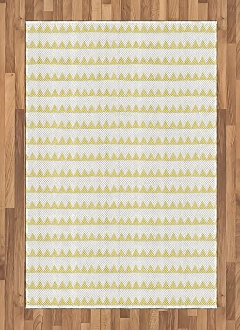 Lunarable Yellow And White Area Rug Hand Drawn Geometric Triangles Herringbone Pattern Doodle Shapes Flat Woven Accent Rug For Living Room Bedroom Dining Room 4 X 5 7 Pale Yellow White Kitchen
