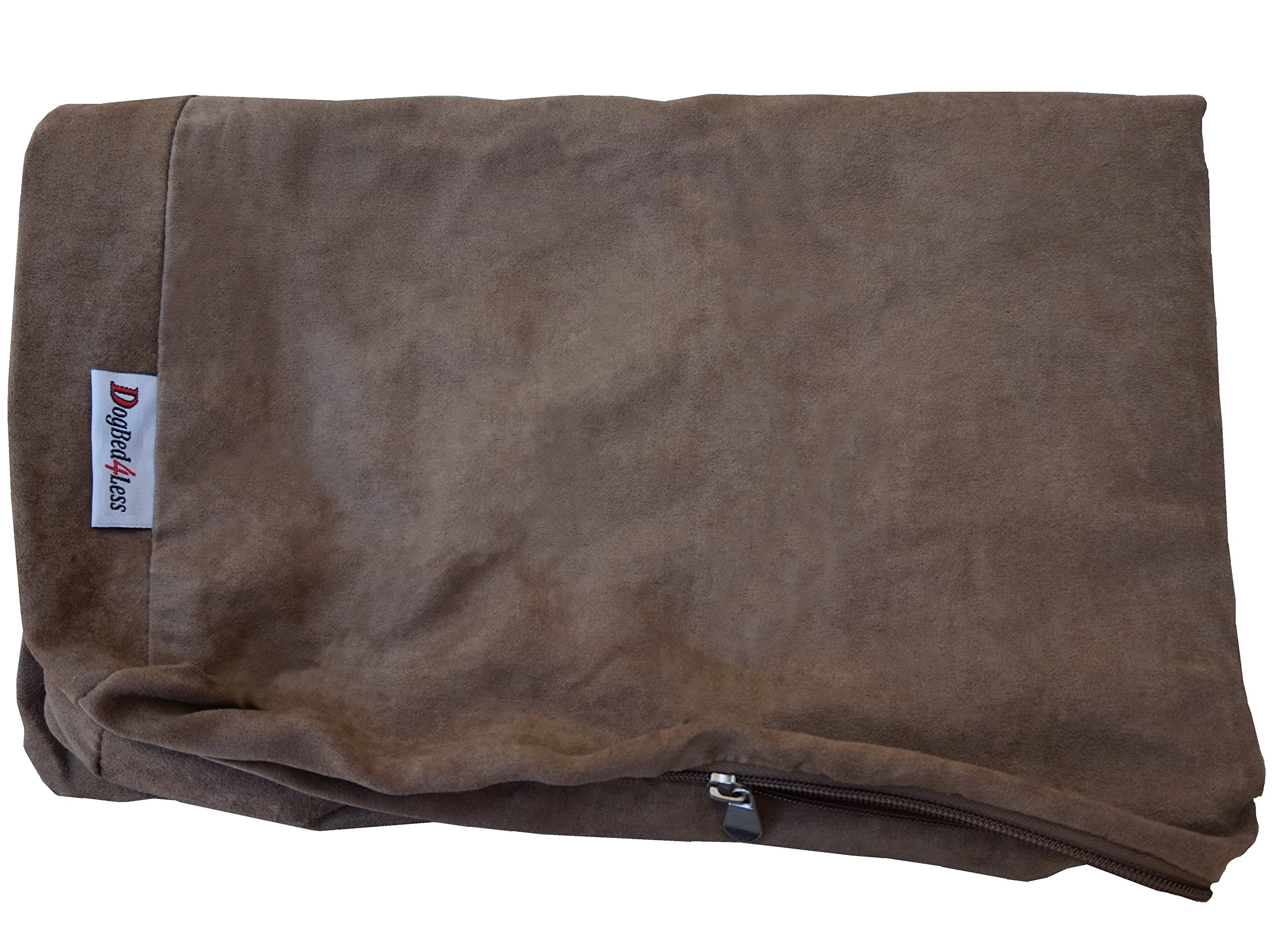 Dogbed4less External Pet Bed Cover with Zipper Liner for Extra Large Dog, 55''X47''x4'' Jumbo, Brown - Replacement Cover Only