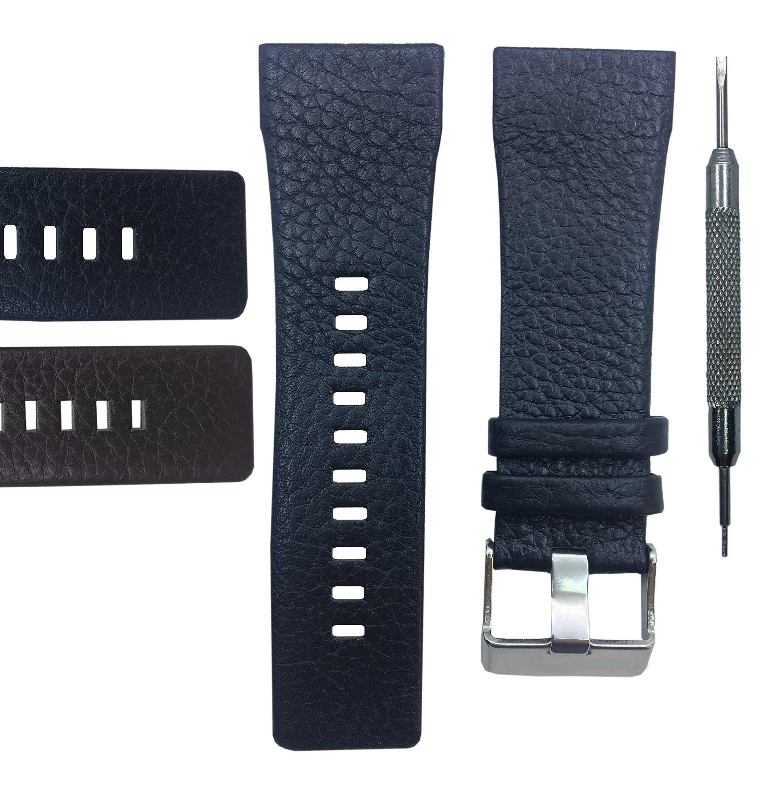 Genuine Leather Watch Band Strap 29mm for DZ1114 - Free Spring Bar Tool (Black)