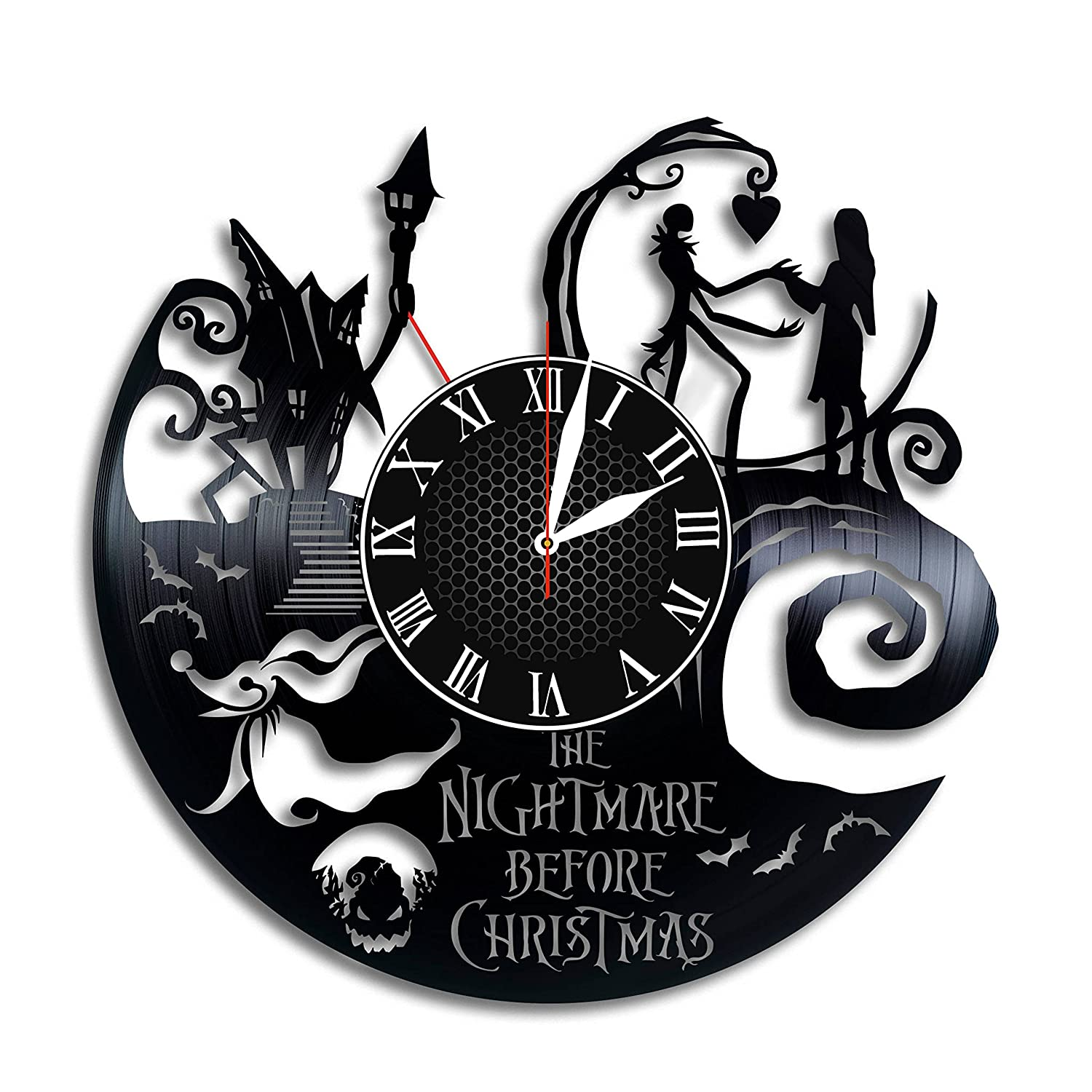 Amazon.com: Olha Art Design Nightmare Before Christmas Vinyl clock ...