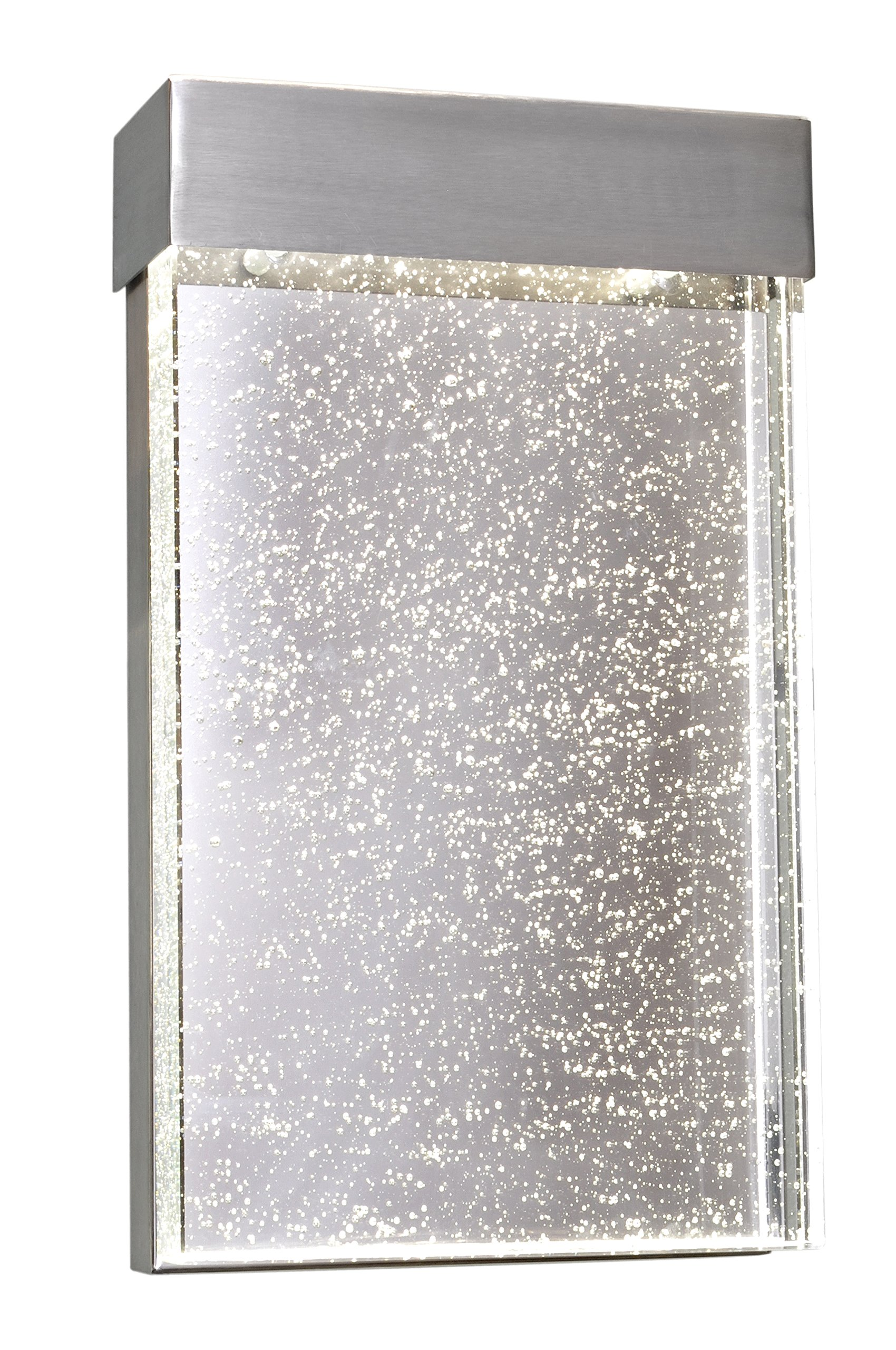 Maxim 88272BGSST Moda LED Outdoor Wall Sconce Outdoor Wall Mount, Stainless Steel Finish, Bubble Glass Glass, PCB LED Bulb , 26W Max., Wet Safety Rating, 2700K Color Temp, Shade Material, 1760 Rated Lumens