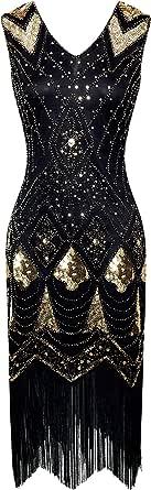 BABEYOND 1920s Flapper Dress 20s Cocktail Dress Vintage Sequined Art Deco Dress Gatsby Costume Dress