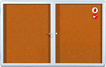 MasterVision Bulletin Board Cabinet, 2 Door, 36u0026quot; X 60u0026quot;, Cork With