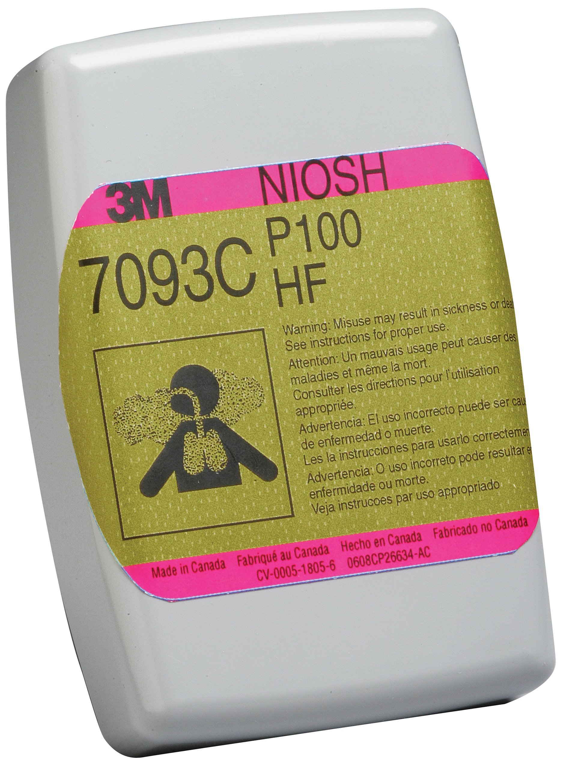 3M Hydrogen Fluoride Cartridge/Filter 7093CB, P100 Respiratory Protection, with Nuisance Level Organic Vapor and Acid Gas Relief (Case of 144)