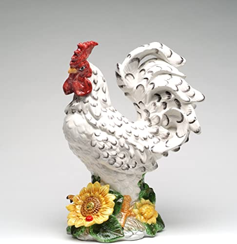 Cosmos Gifts Fine Ceramic Hand Painted Large White Rooster with Black Accents by Sunflower Figurine, 15 H