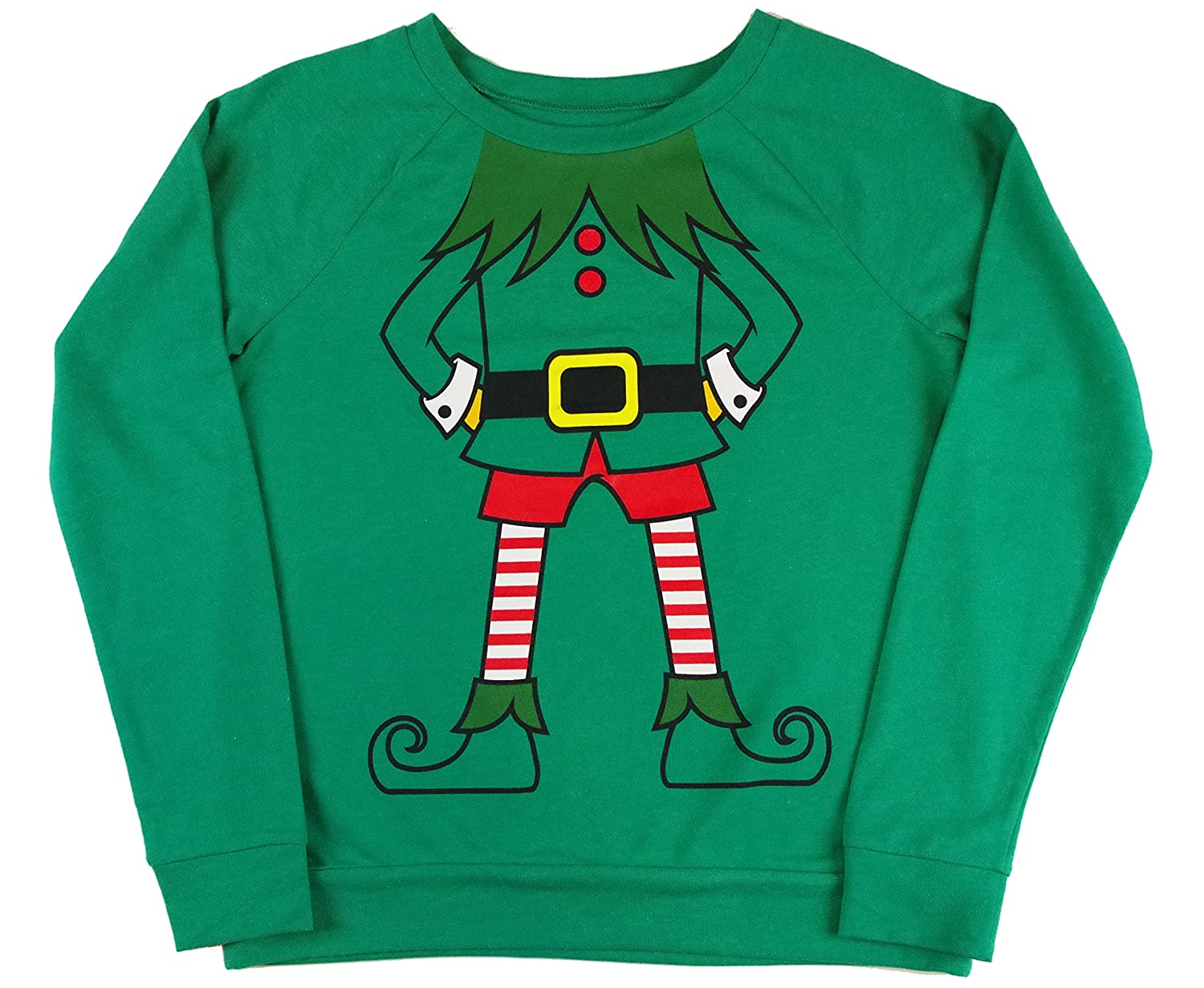 Elf Christmas Sweatshirt, FunNo Head Design, Juniors Sizes