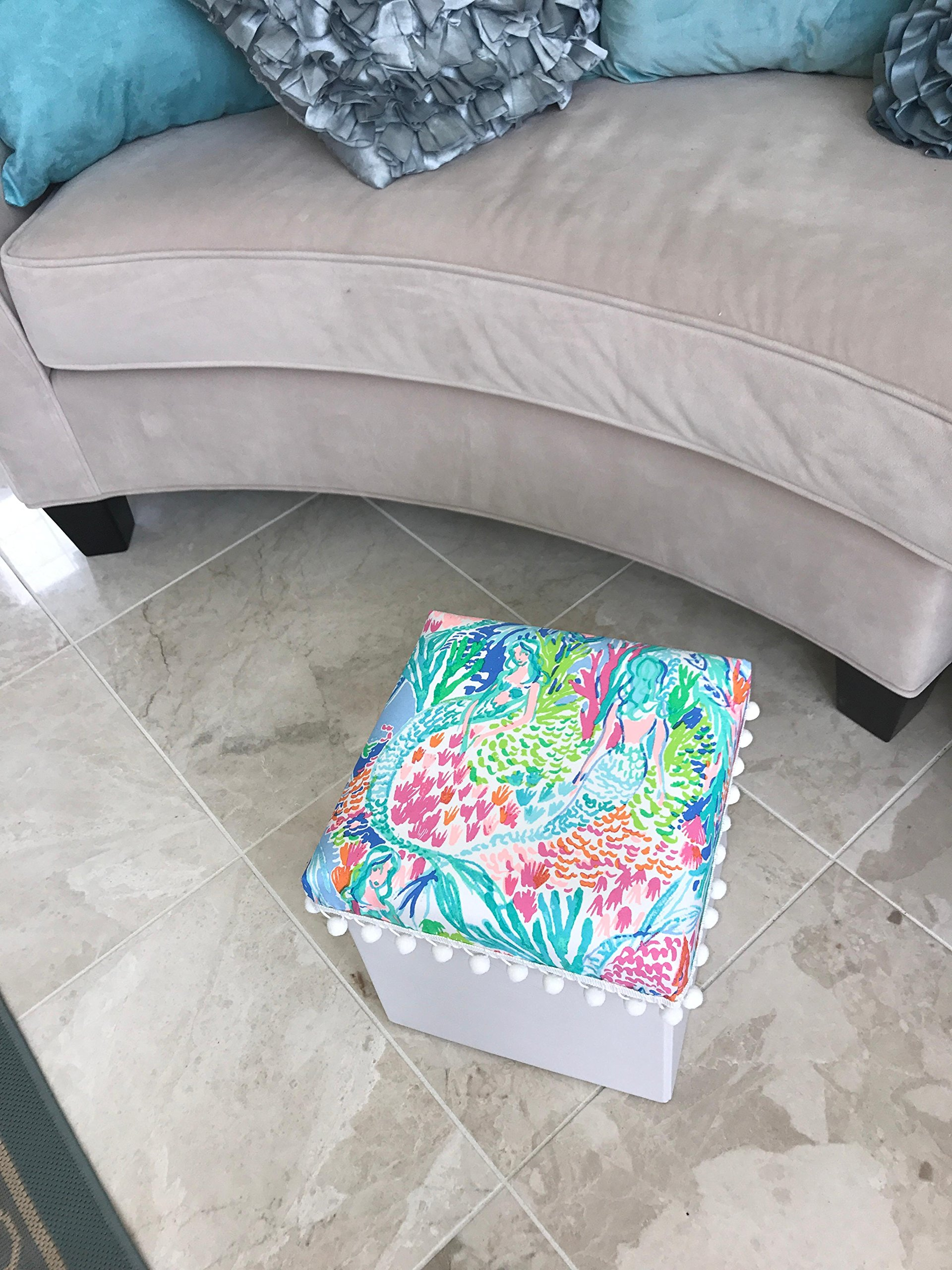 White Ottoman Footstool Footrest made with Lilly Pulitzer Mermaid Cove fabric college dorm