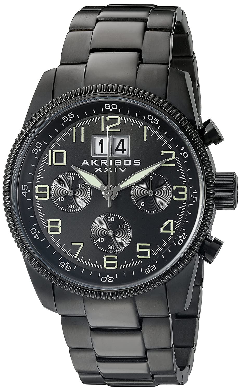 Akribos XXIV Men 's ak862bkラウンドブラックダイヤルクロノグラフクオーツブラックブレスレット腕時計 B013GEKNQC