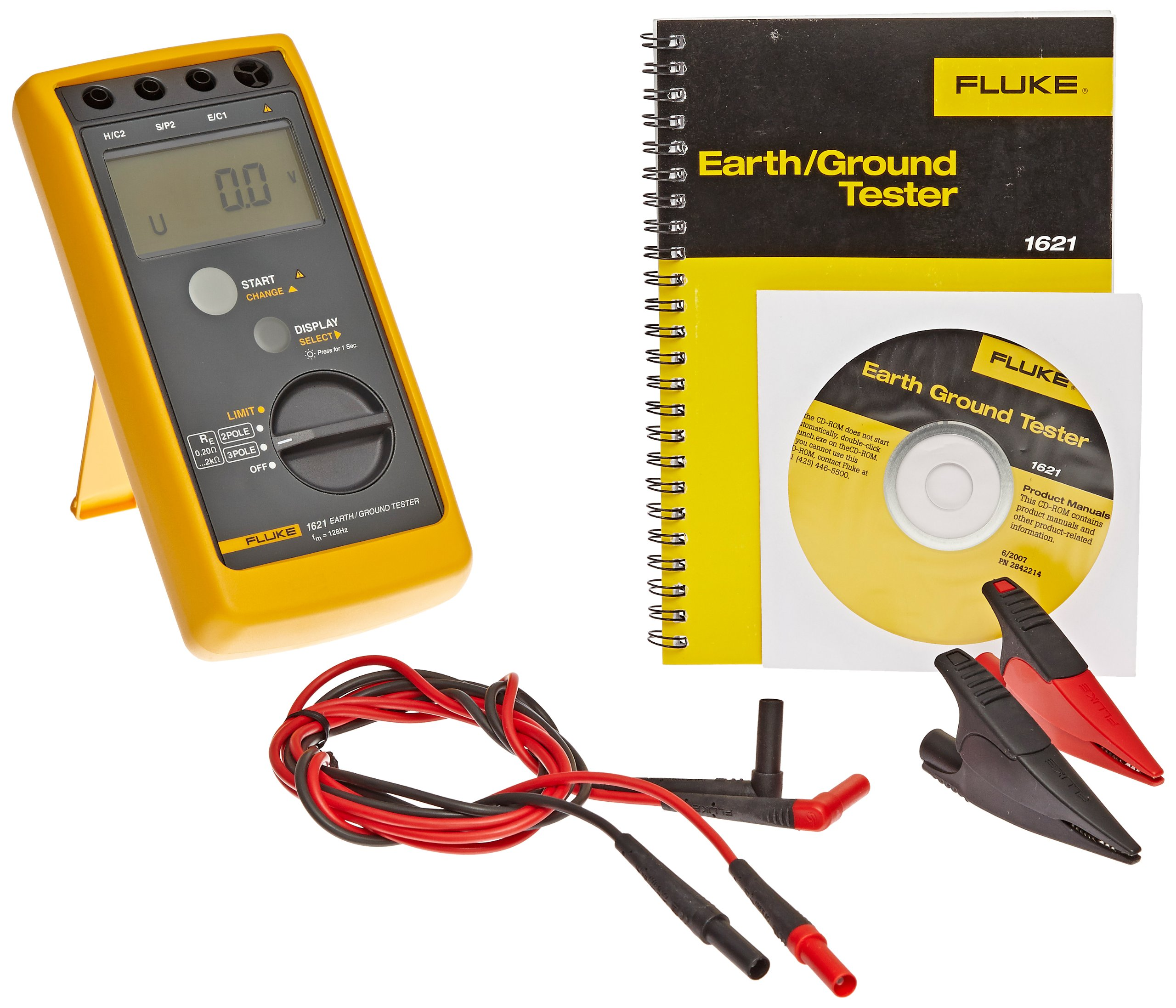 Fluke 1621 Earth Ground Tester, LCD Display, 3.7kV Voltage