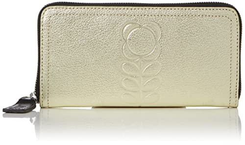 Womens Embossed Flower Stem Leather Big Zip Wallet, Gold (Gold), 19x10x2 cm (W x H x L) Orla Kiely