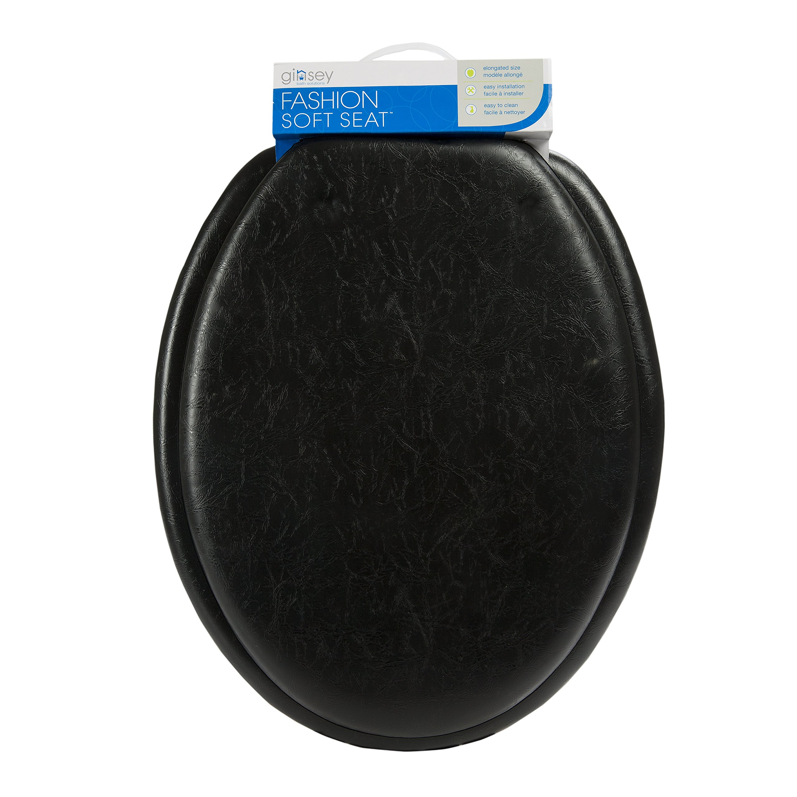 GINSEY CLASSIQUE ELONGATED CUSHION SOFT PADDED TOILET SEAT - BLACK by Ginsey