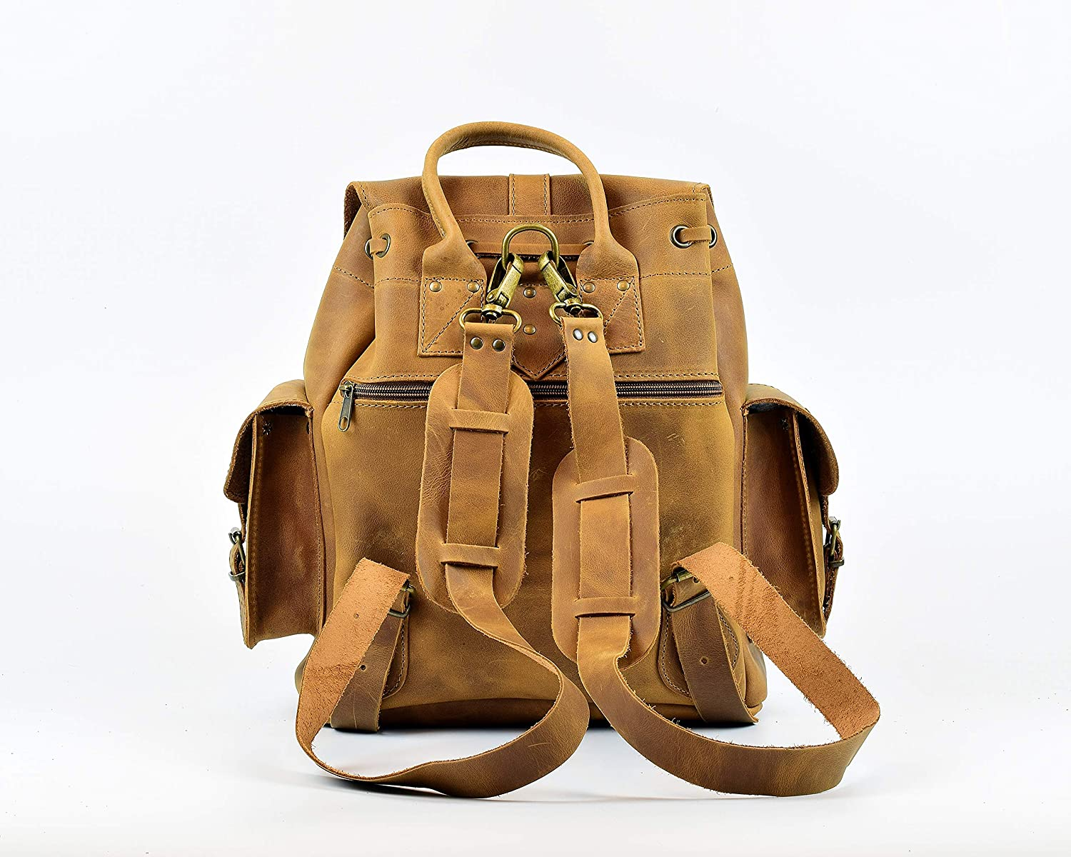 Handmade in Greece Black Suede Leather Backpack Small Colors: Tan Light Brown