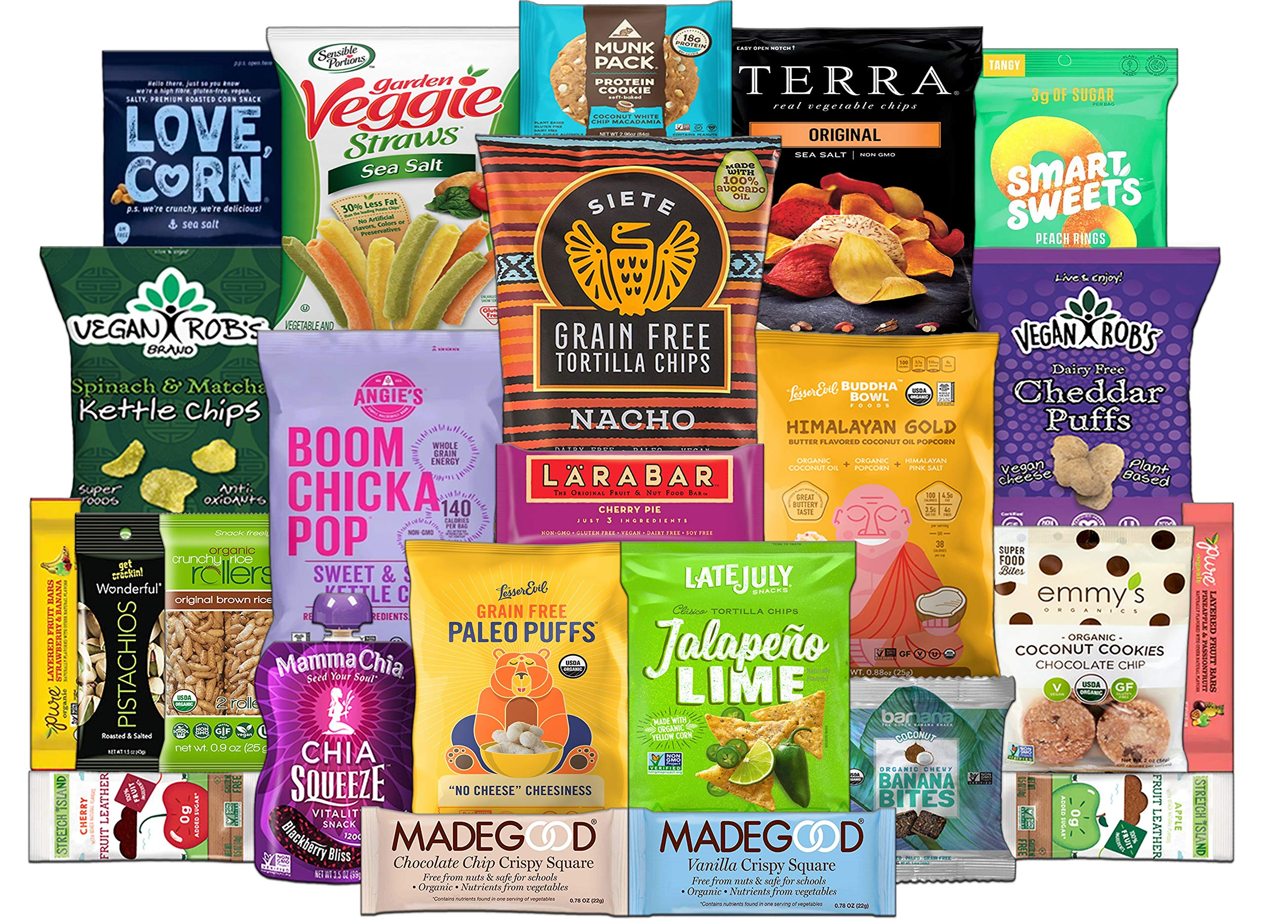 Healthy Vegan and Gluten Free Snack Assortment Care Package - Popcorn, Chips, Puffs, Nuts, Bars, Fruit Snacks (24 Count) by Custom Treats