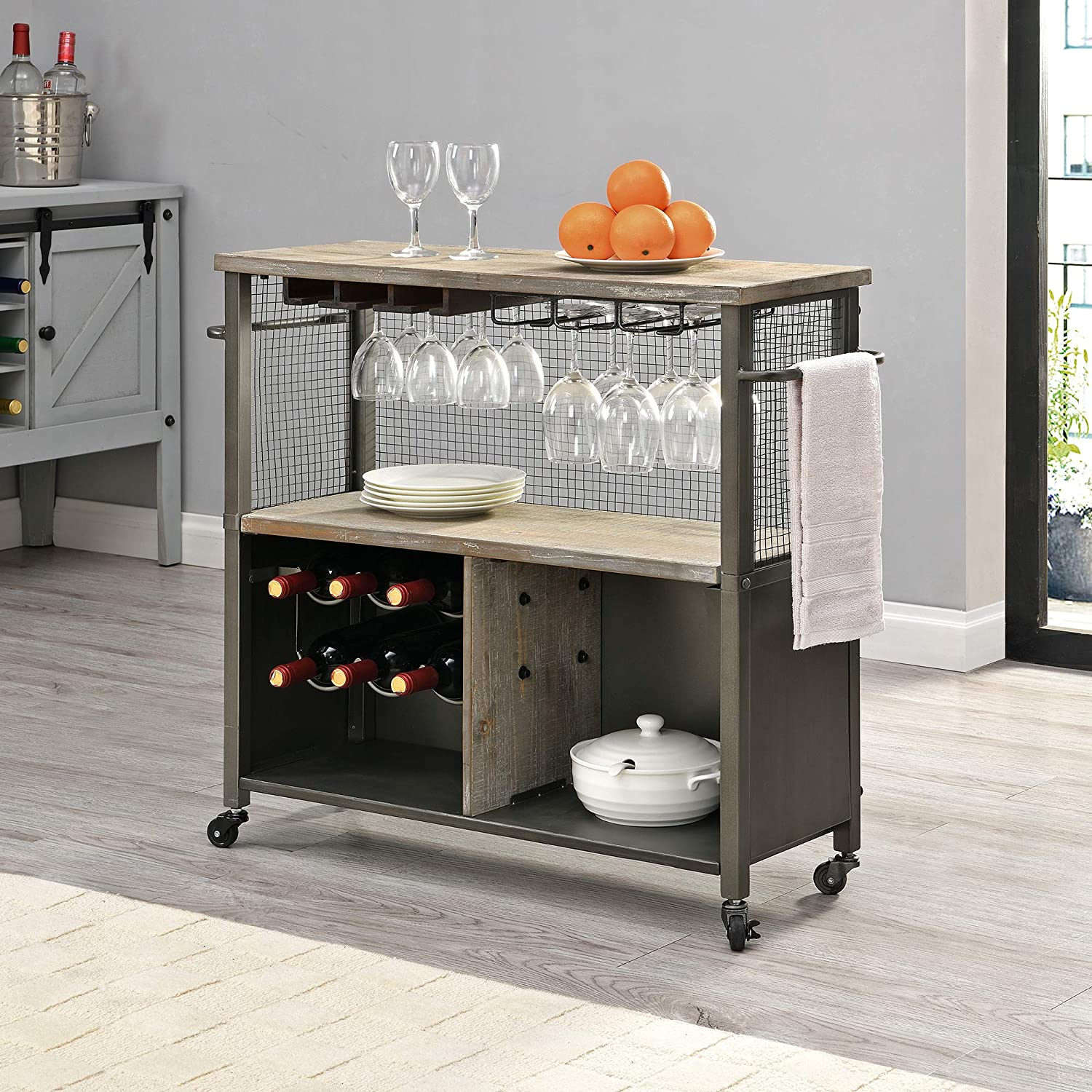FirsTime & Co. Silver Chandler Farmhouse Kitchen Cart, American Designed, Silver, 31.5 x 12 x 31.5 inches (70251)