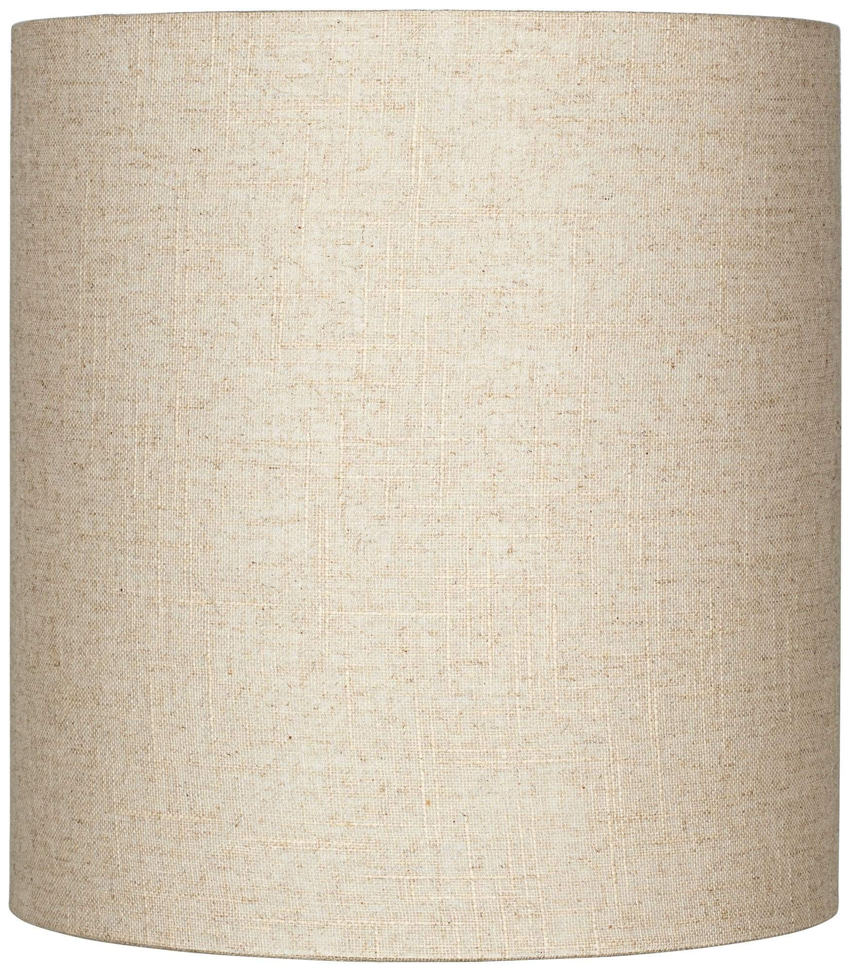 Oatmeal Tall Linen Drum Shade 14x14x15 (Spider) - Brentwood
