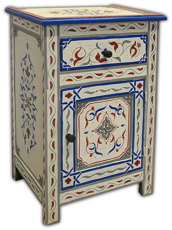 Dipinto a mano marocchino 1 cassetto e 1 porta comodino - in crema - W45 D30 H65 CM Maison Andaluz