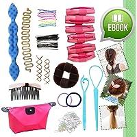 Kit Ultime Outils Accessoires Relooking Coiffure - Coffret Cadeau avec eBOOK en Bonus pour Filles Ados