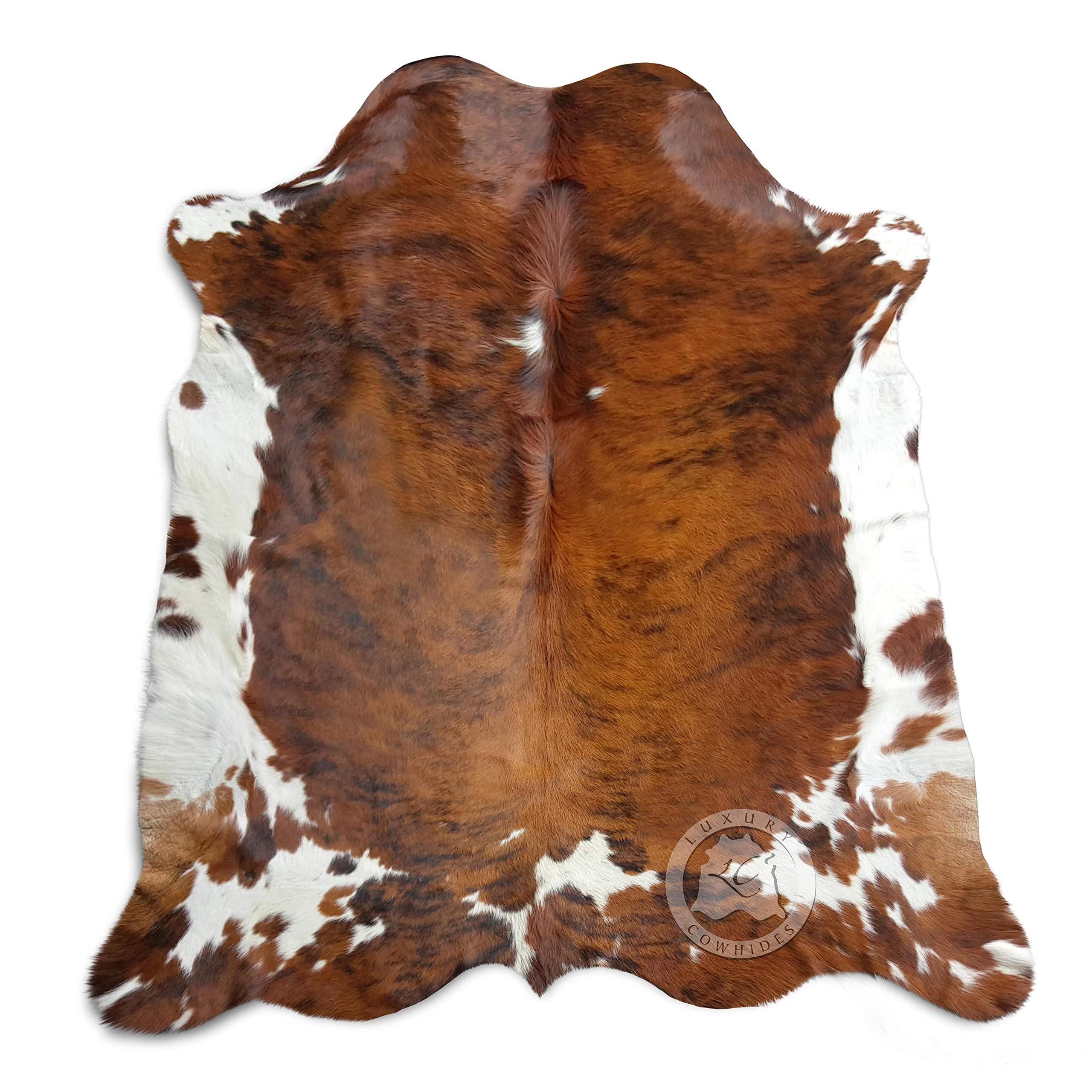 Alfombra de piel de vaca tricolor atigrada XL Aprox 6-6.5ft x 8-7.5ft 180cm x 240cm