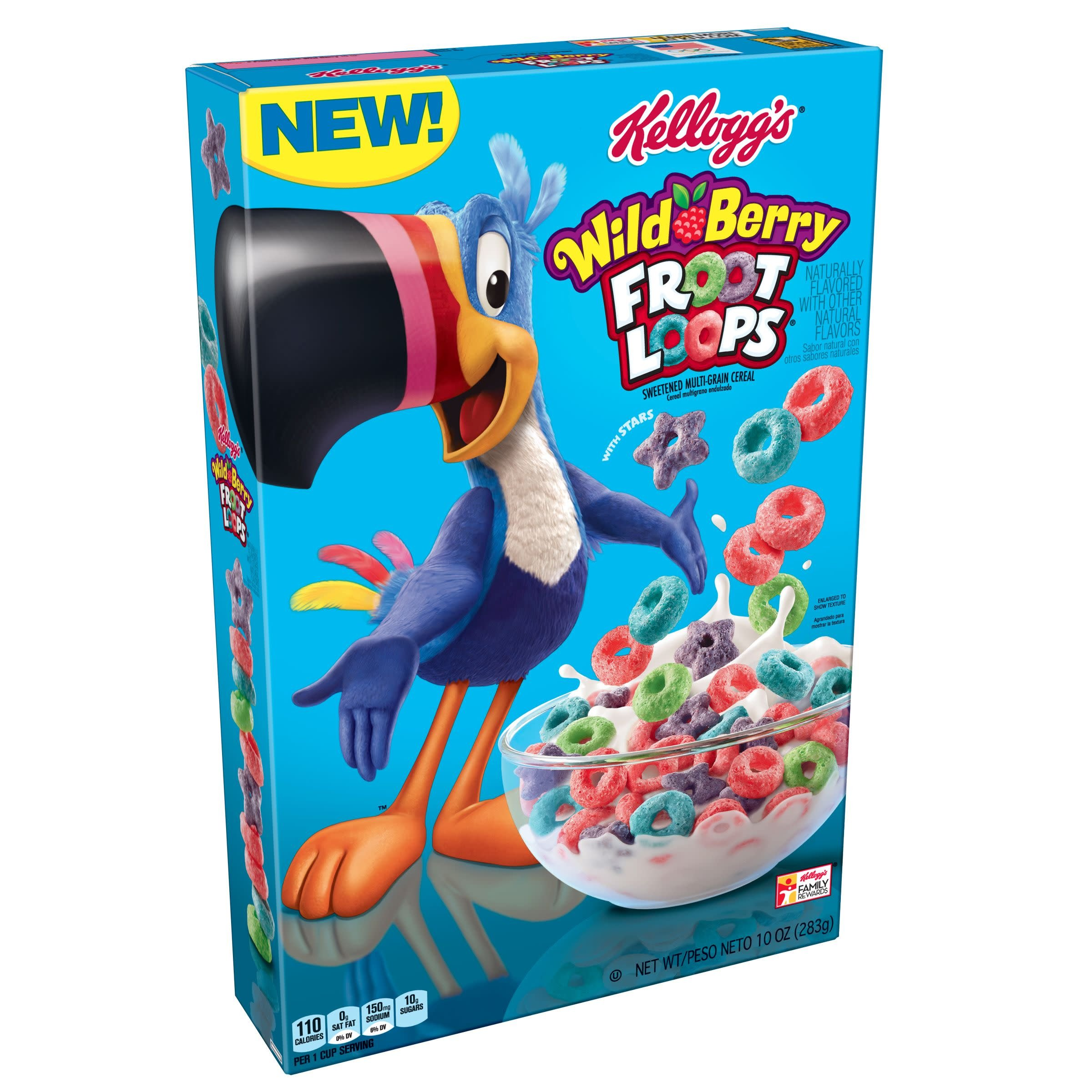 Kellogg's Froot Loops, Breakfast Cereal, Wild Berry, 10 oz Box(Pack of 12)