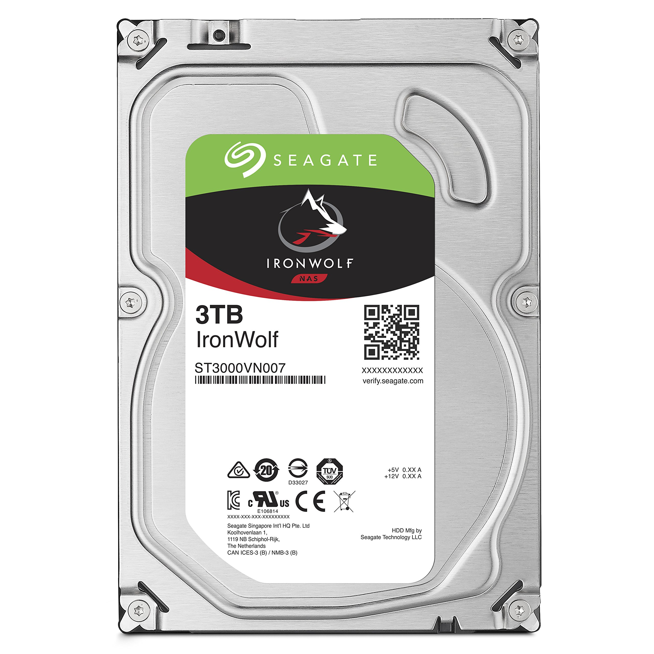 Seagate 3TB IronWolf NAS SATA Hard Drive 6Gb/s 256MB Cache 3.5-Inch Internal Hard Drive for NAS Servers, Personal Cloud Storage (ST3000VN007)