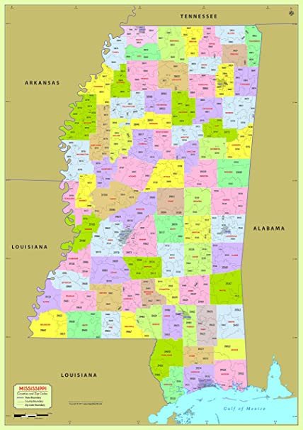 Zip Code Map Of Mississippi Amazon.: Mississippi County with Zip Code Map (36