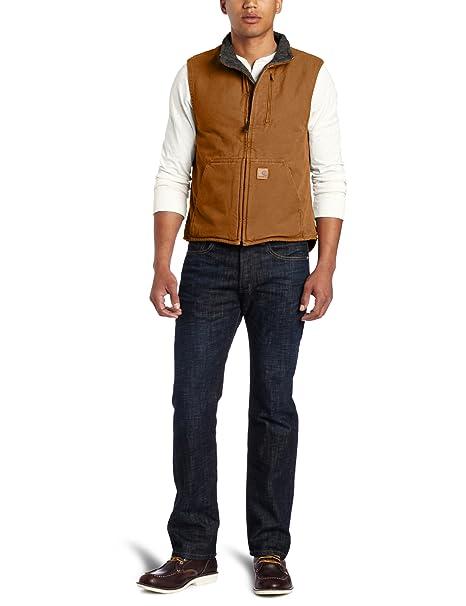 6a52ee2360d Carhartt Men's Big & Tall Mock Neck Vest Sherpa Lined Sandstone,Brown,XXX-