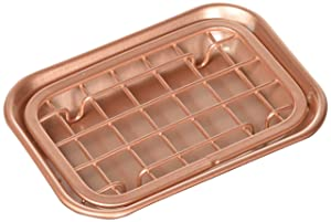 mDesign Metal 2-Piece Soap Dish Tray with Drainage Grid and Holder for Kitchen Sink Countertops to Store Soap, Sponges, Scrubbers - Rust Resistant - Copper