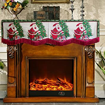 Christmas Fire Place.Asunflower Christmas Fireplace Mantle Scarf With Tassel Trim For Holiday Fireplace Decoration Santa Claus