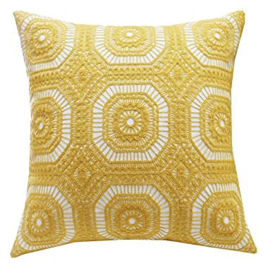 SLOW COW Cotton Embroidery Decorative Throw Pillow Cover Kaleidoscope Design Accent Pillow Cushion Cover for Sofa Couch 18x18 Inches Yellow