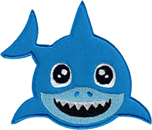 PatchMommy Shark Patch, Iron On/Sew On - Appliques for Kids Baby (Blue)