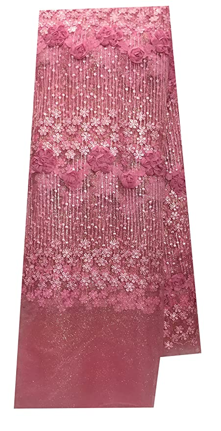 Kurti Material Blouse Fabric By Meter Pink Net Gold Coding Leaves