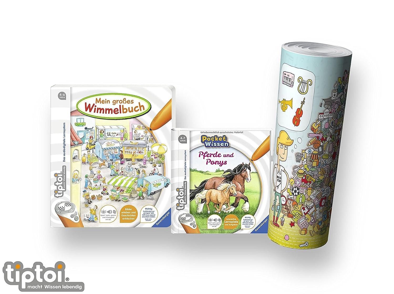 tiptoi Ravensburger Buch 4-7 | Mein großes Wimmelbuch + Pocket Wissen - Pferde und Ponys + Kinder Wimmel Such-Poster 44567