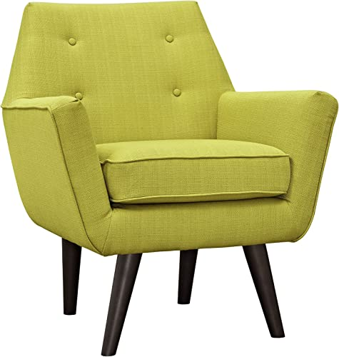 Modway Posit Mid-Century Modern Fabric Upholstered Accent Lounge Arm Chair In Wheatgrass