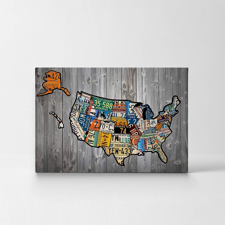 Amazoncom United States Map License Plate Map Canvas Print States - Us-map-license-plates