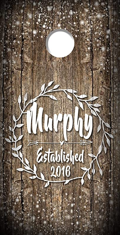 Cornhole Board Decals Cornhole Wraps Custom Wedding Decals Set of 2 Vinyl Decal Stickers Party Husband Wife Wedding Inspired Last Name Couple Monogram Rustic Sparkle Lights with Vines