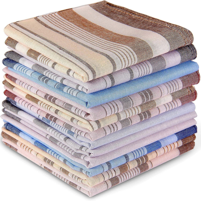 Handkerchiefs for Men, Ohuhu 100% Pure Cotton Pocket Square, Men's Handkerchiefs 12 Piece Gift Set 4 Color Hankies Perfect Christmas Gifts