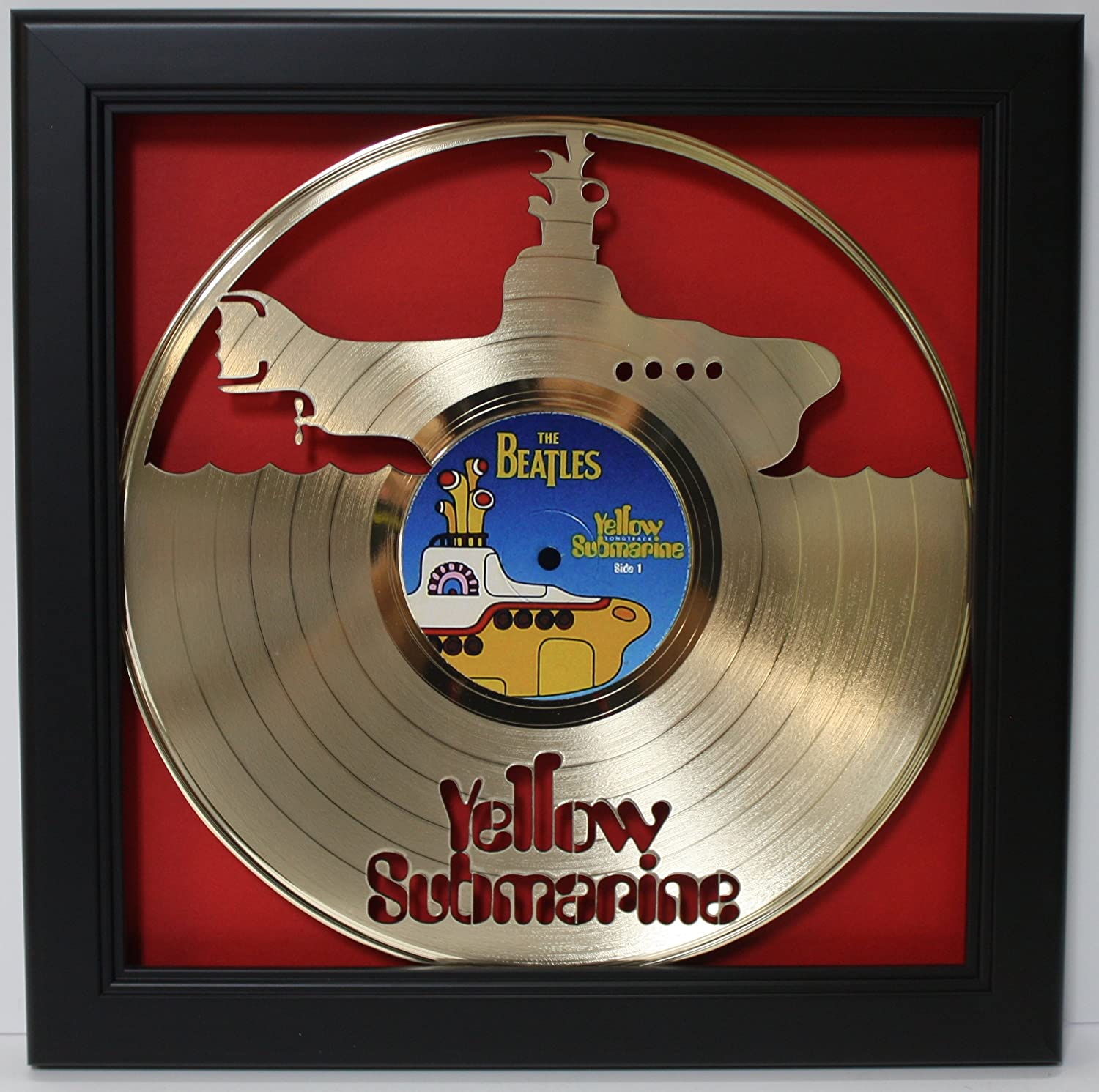Beatles Yellow Submarine Framed Laser Cut Gold Plated Vinyl Record in Shadowbox Wallart
