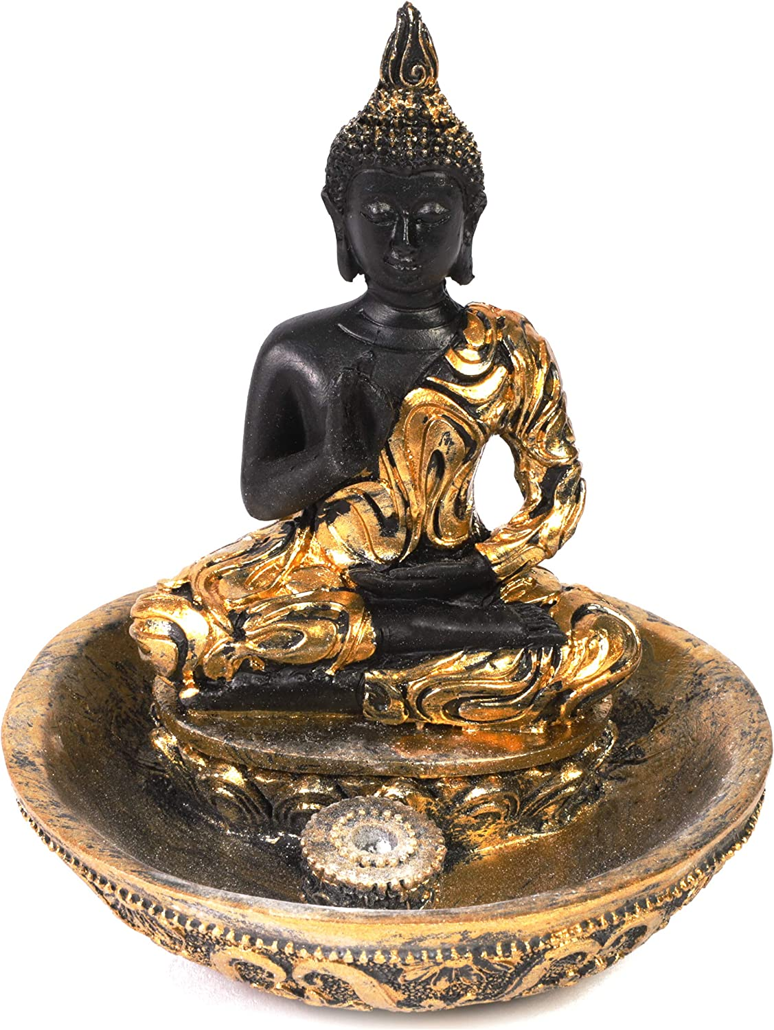Juvale Buddha Tealight Statue for Table, Desktop, or Zen Garden (Black and Gold, 4 in)