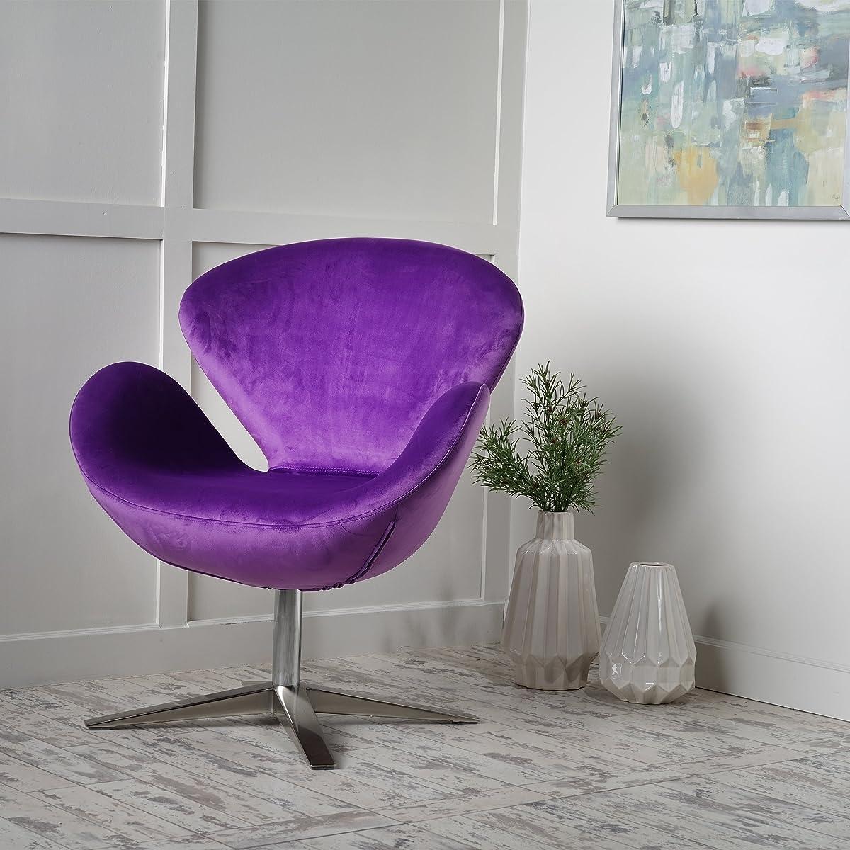 Manhattan New Velvet Contour Swan Swivel Chair
