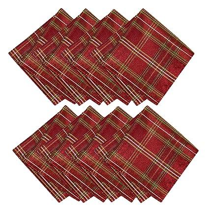 newbridge shimmering plaid metallic christmas plaid fabric napkin set glitter xmas weave holiday cloth napkins - Christmas Plaid Fabric