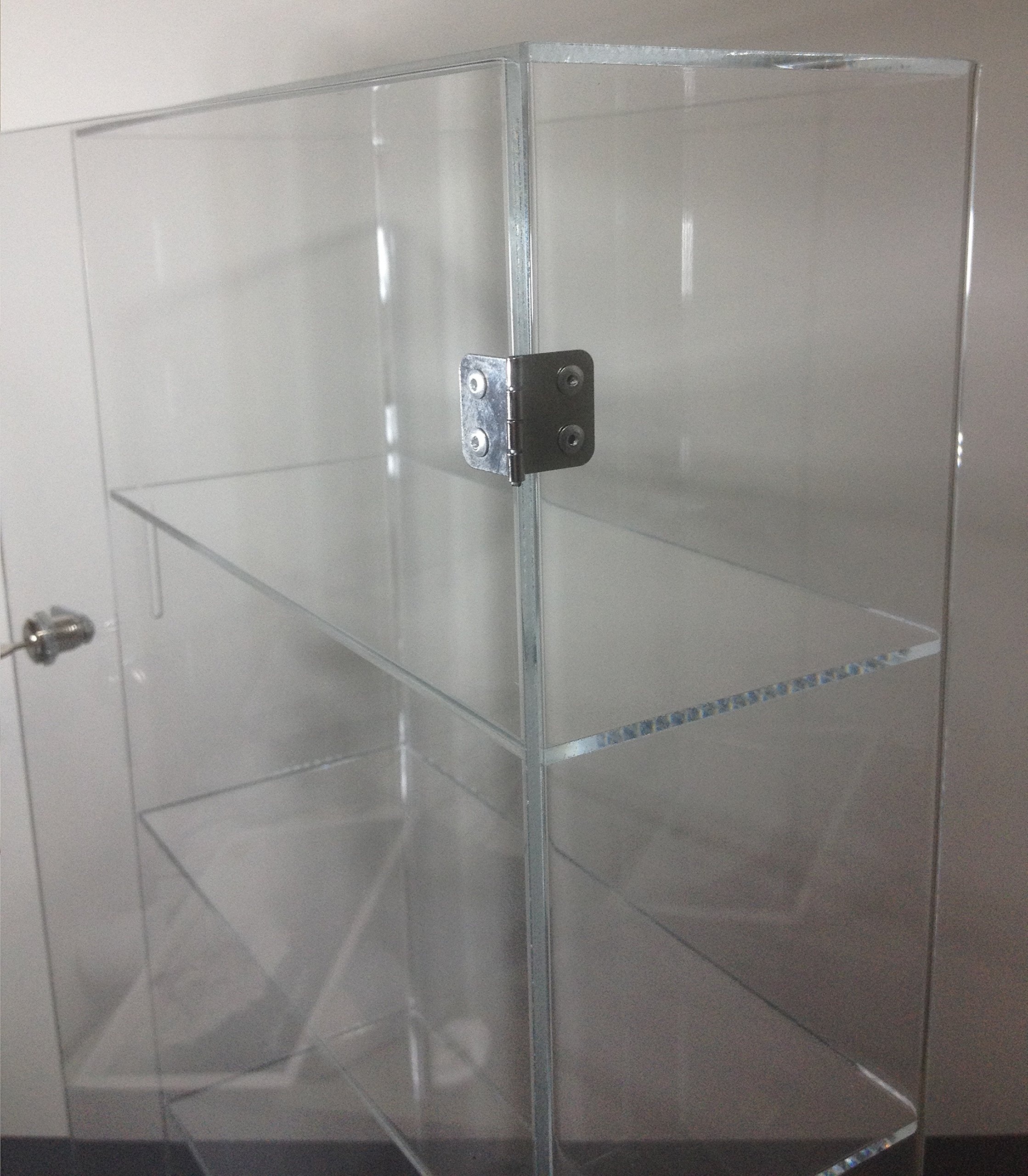 T'z Tagz Brand Acrylic Lucite Showcase Jewelry Pastry Bakery Counter Display W/Door & Lock (10'' X 4'' X 18.25''h)