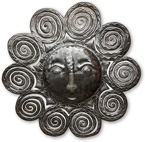 Sun Face Spiral Wall Hanging Metal Art