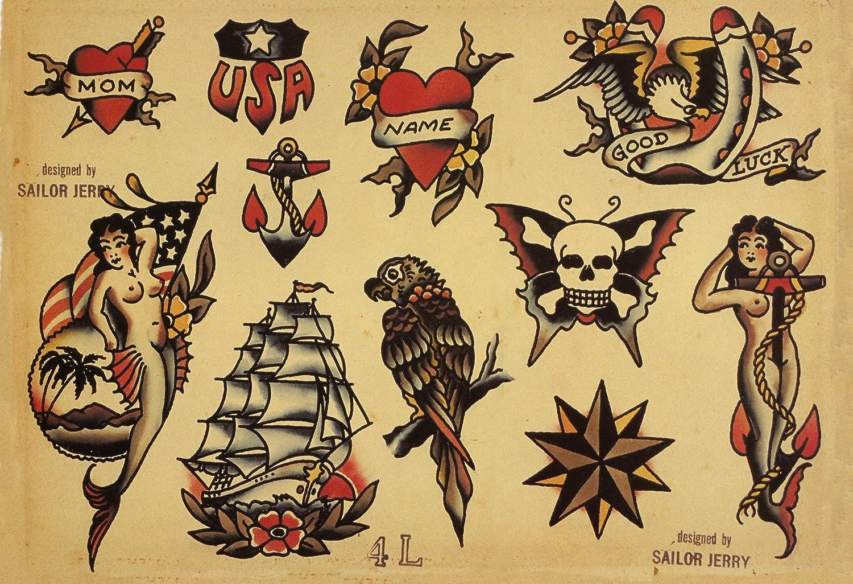 66f7a9b6c Amazon.com: Sailor Jerry Tattoo Art Flash #4 13x19
