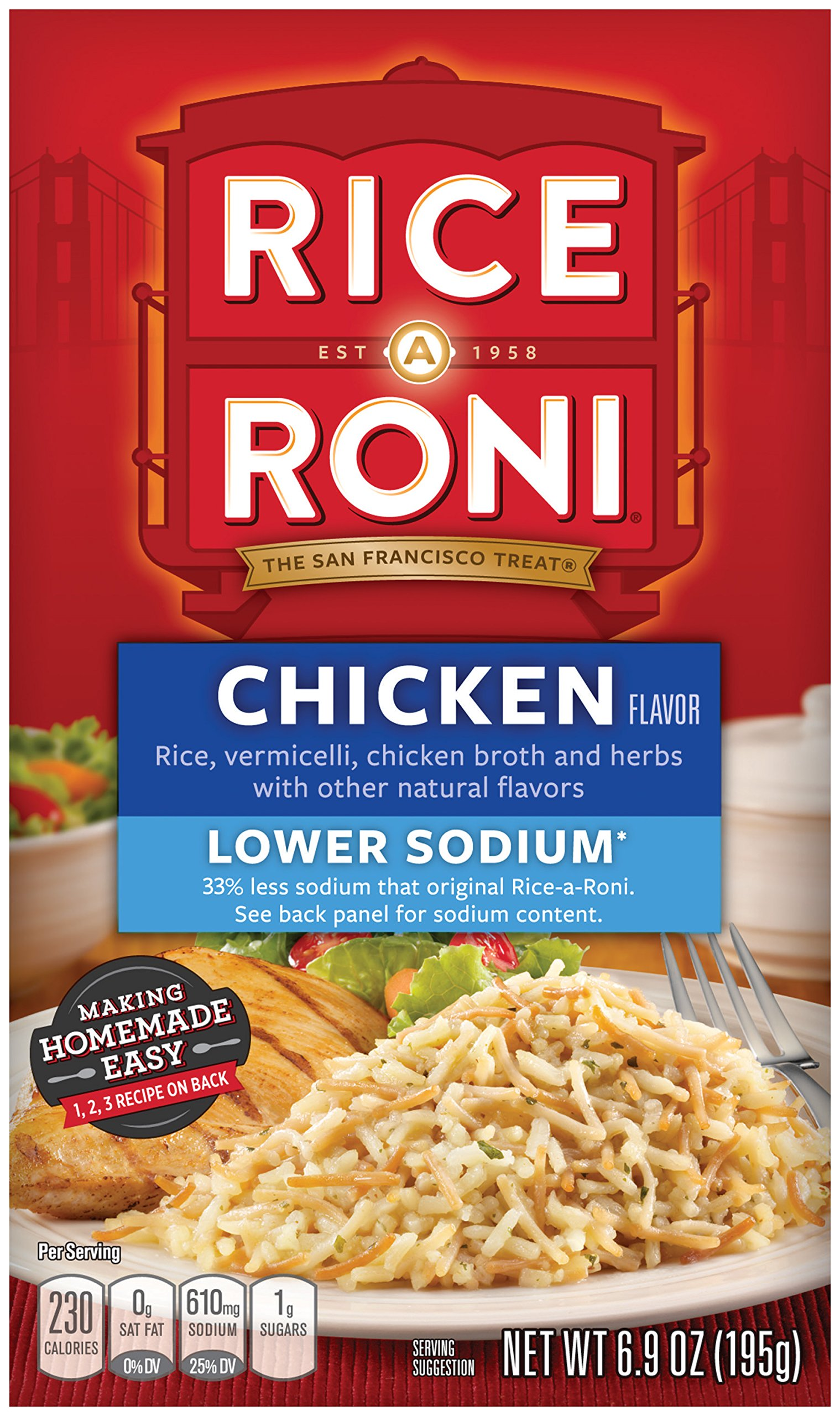 Rice-A-Roni Chicken, Lower Sodium, 6.9 Ounce