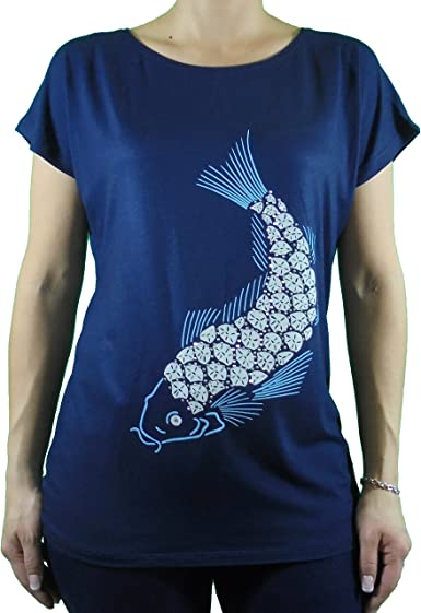 Camiseta mujer hombro caído estampado pez decorado con pedrería color azul marino TSHIRT LUTASHA (XL): Amazon.es: Ropa y accesorios