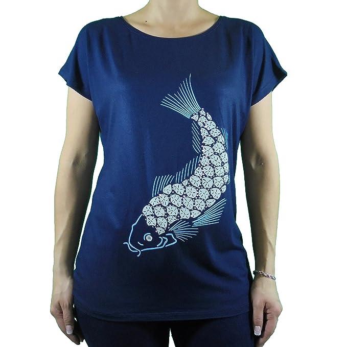 Camiseta mujer hombro caído estampado pez decorado con pedrería color azul marino TSHIRT LUTASHA (XL