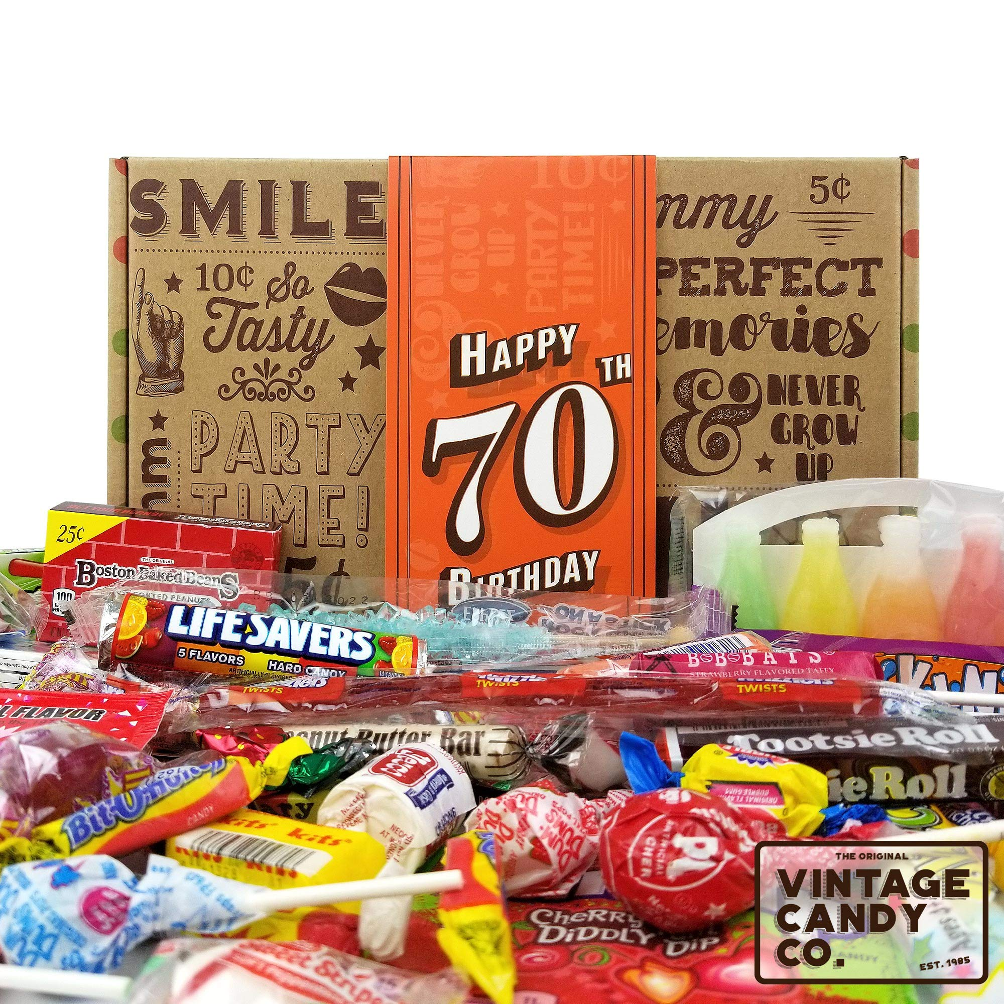VINTAGE CANDY CO. 70TH BIRTHDAY RETRO CANDY GIFT BOX - 1949 Decade Nostalgic Childhood Candies - Fun Gag Gift Basket for Milestone SEVENTIETH Birthday - PERFECT For Man Or Woman Turning 70 Years Old by Vintage Candy Co. (Image #1)