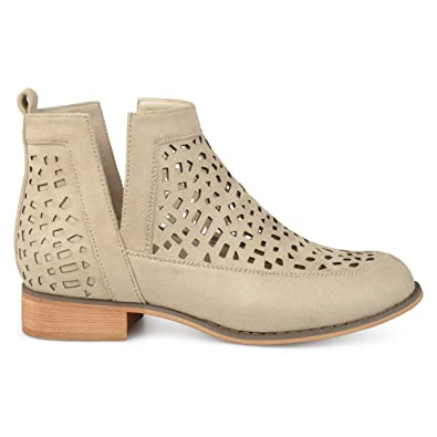 928c20e396 Brinley Co. Womens Faux Suede Geometric Laser Cut Side Split Stacked Wood  Heel Booties Stone