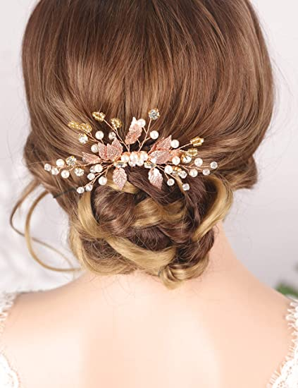 Kercisbeauty Wedding Leaf Hair Comb For Bride Bridal Headpiece With Pearl Crystal Jewelry Prom Party Hair Piece Bridesmaid Hair Accessories Rose Gold Amazon Co Uk Beauty