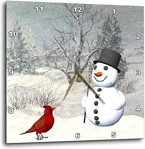 3dRose Cardinal and Snowman in Winter – Wall Clock, 13 by 13-Inch DPP_18581_2